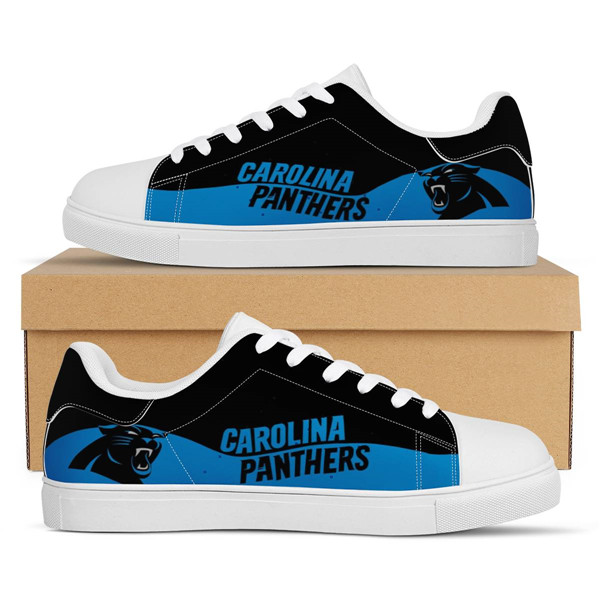 Women's Carolina Panthers Low Top Leather Sneakers 003
