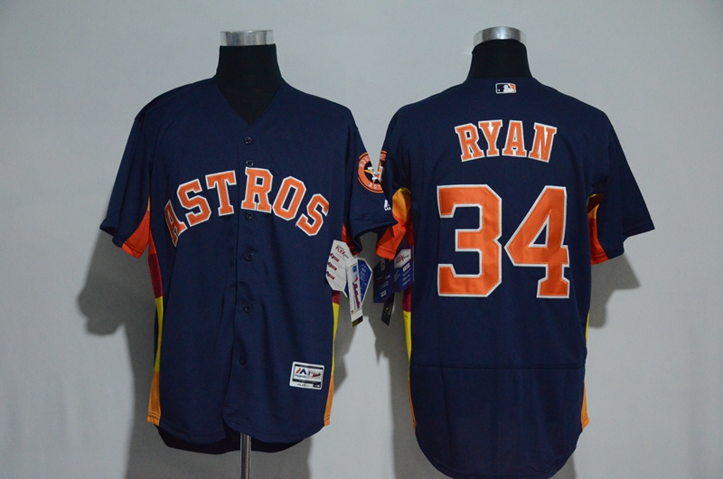 Men's Houston Astros #34 Nolan Ryan Majestic Alternate Navy Flex Base Authentic Collection Stitched MLB Jersey