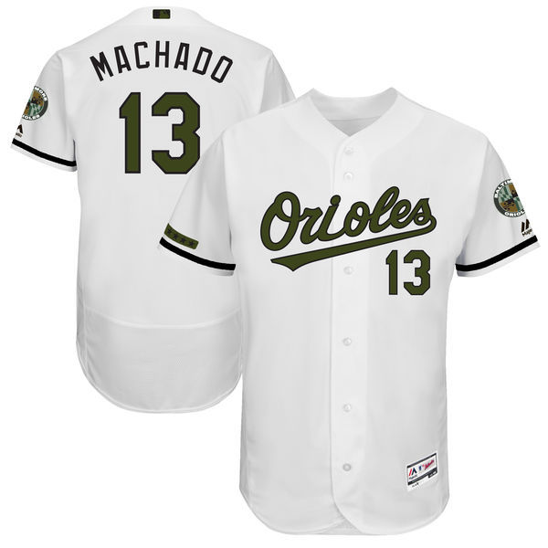 Men's Baltimore Orioles #13 Manny Machado Majestic White 2017 Memorial Day Authentic Collection Flex Base Player Stitched MLB Jersey