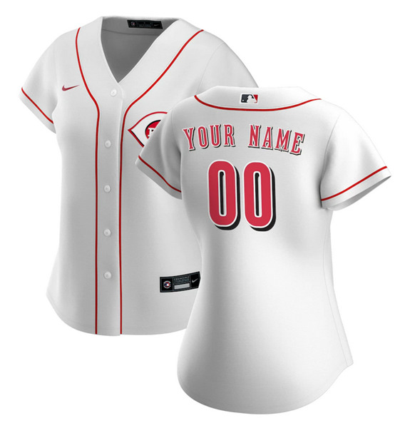 Women's Cincinnati Reds ACTIVE PLAYER Custom White Stitched Jersey(Run Small)