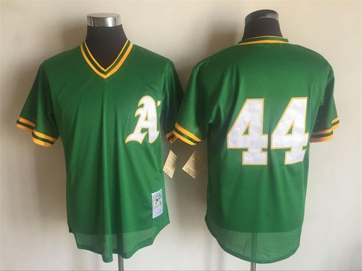 Men's Oakland Athletics #44 Reggie Jackson Mitchell & Ness Green 1987 Throwback Stitched MLB Jersey