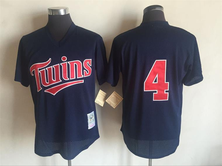 Men's Minnesota Twins #4 Paul Molitor Mitchell And Ness Navy Blue 1996 Throwback Stitched MLB Jersey