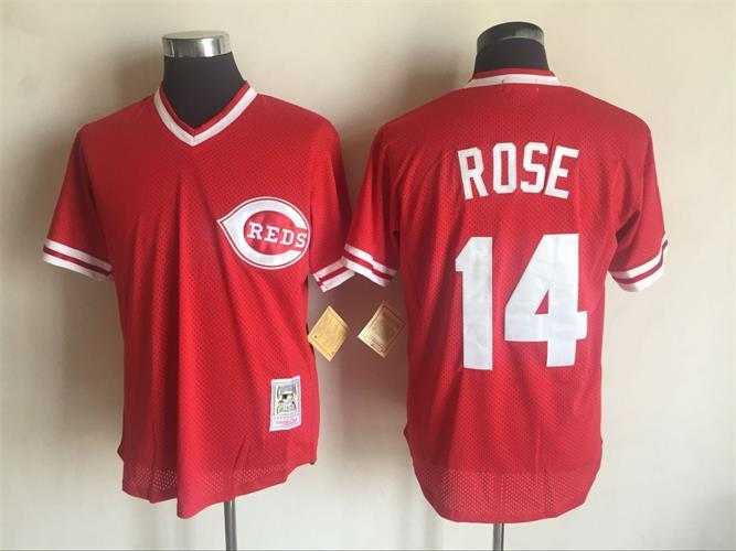 Men's Cincinnati Reds #14 Pete Rose Mitchell And Ness Red Throwback Stitched MLB Jersey