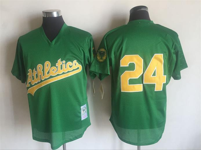 Men's Oakland Athletics #24 Rickey Henderson Mitchell And Ness Green 1998 Throwback Stitched MLB Jersey