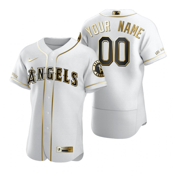 Men's Los Angeles Angels Active Player White Golden Edition Flex Base Sttiched MLB Jersey