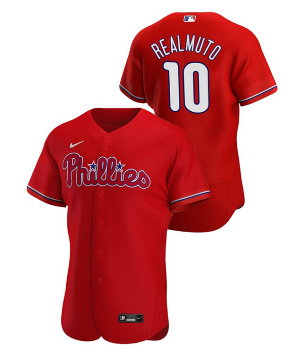 Men's Philadelphia Phillies #10 J.T. Realmuto Red Flex Base Stitched MLB Jersey