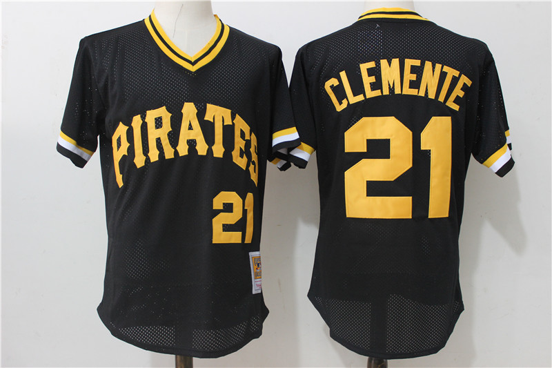 Men's Pittsburgh Pirates #21 Roberto Clemente Mitchell & Ness Black 1982 Authentic Cooperstown Collection Mesh Batting Practice Stitched MLB Jersey