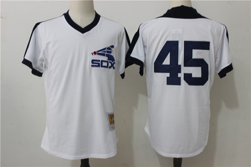 Men's Chicago White Sox #45 Michael Jordan Mitchell & Ness White Cooperstown Mesh Batting Practice Stitched MLB Jersey