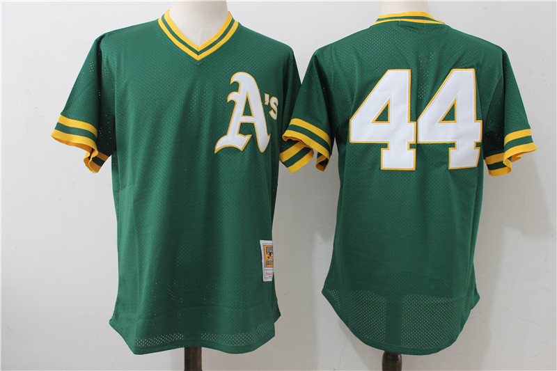 Men's Oakland Athletics #44 Reggie Jackson Mitchell & Ness Green Cooperstown Mesh Batting Practice Stitched MLB Jersey