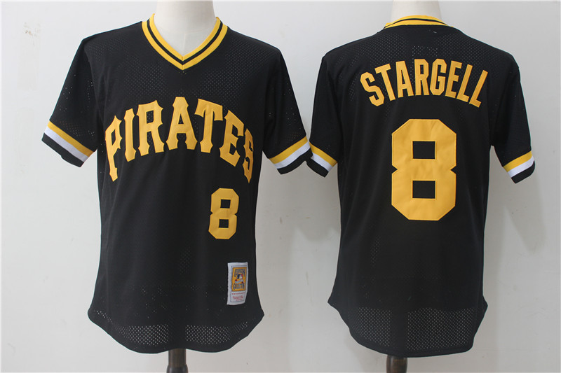 Men's Pittsburgh Pirates #8 Willie Stargell Mitchell & Ness Black 1982 Authentic Cooperstown Collection Mesh Batting Practice Stitched MLB Jersey
