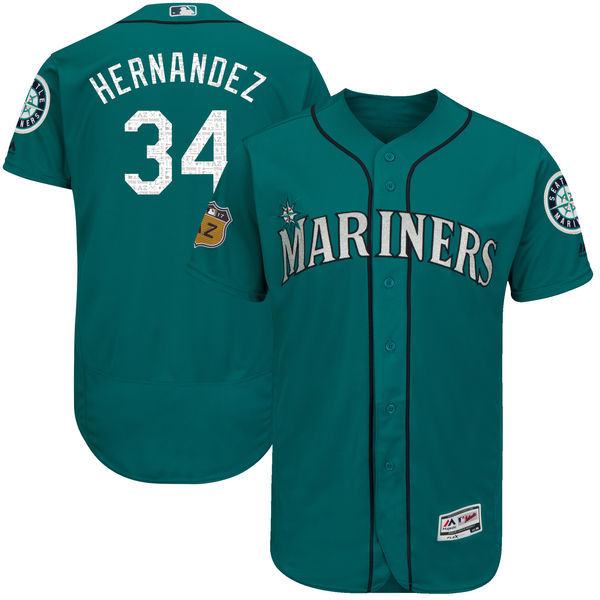 Men's Seattle Mariners #34 Felix Hernandez Majestic Aqua 2017 Spring Training Authentic Flex Base Player Stitched MLB Jersey
