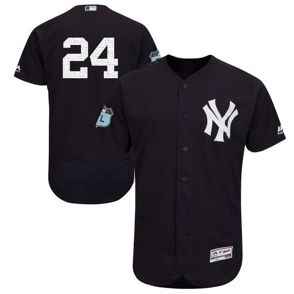 Men's New York Yankees #24 Gary Sanchez Majestic Navy 2017 Spring Training Authentic Flex Base Player Stitched MLB Jersey
