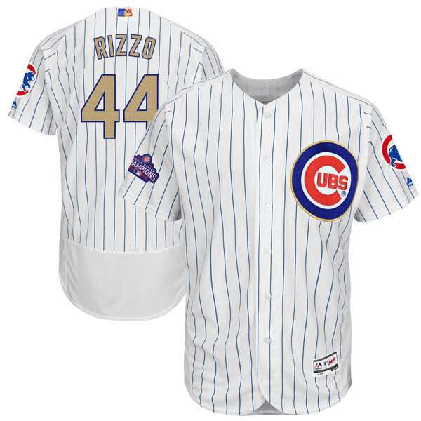 Men's Chicago Cubs #44 Anthony Rizzo Majestic White 2017 Gold Program Flex Base Player Stitched MLB Jersey