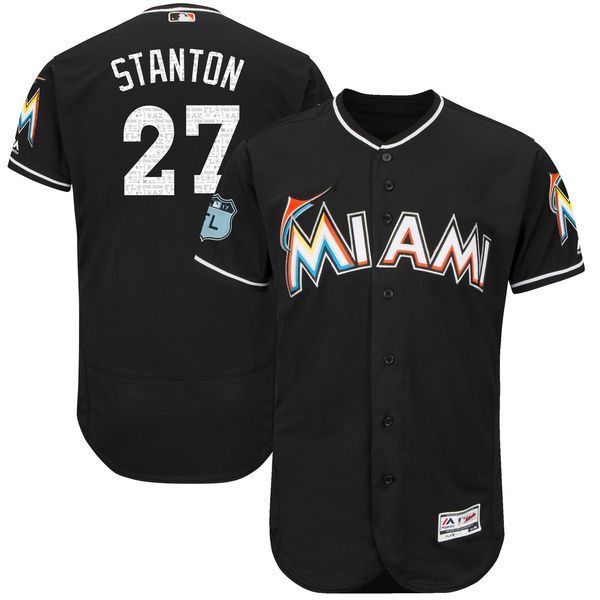 Men's Miami Marlins #27 Giancarlo Stanton Majestic Black 2017 Spring Training Authentic Flex Base Player Stitched MLB Jersey