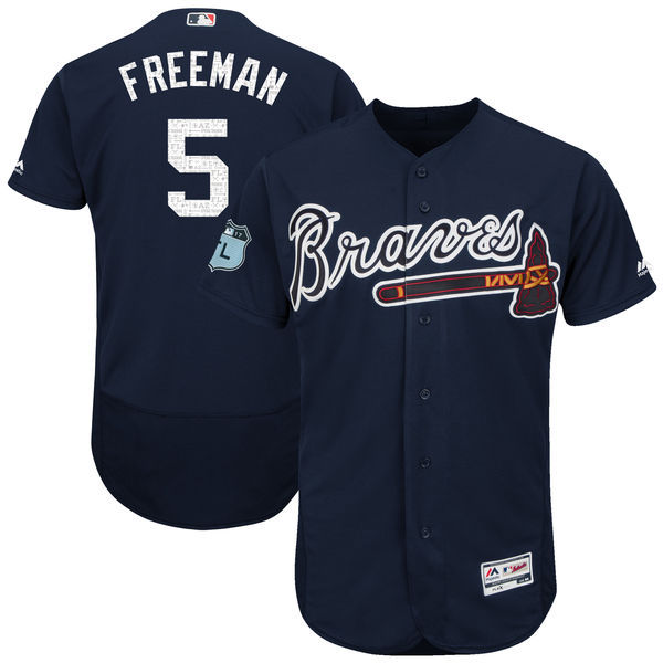 Men's Atlanta Braves #5 Freddie Freeman Majestic Navy 2017 Spring Training Authentic Flex Base Player Stitched MLB Jersey