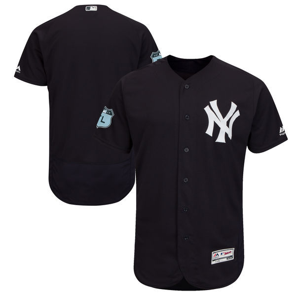 Men's New York Yankees Majestic Navy 2017 Spring Training Authentic Flex Base Team Stitched MLB Jersey