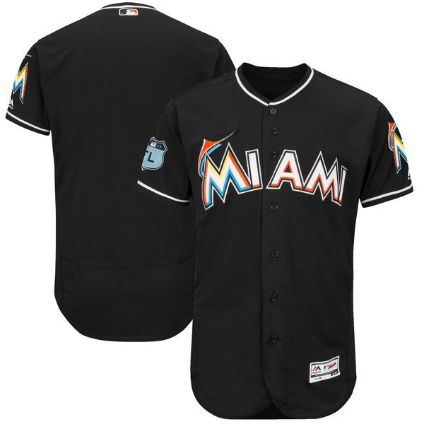 Men's Miami Marlins Majestic Black 2017 Spring Training Authentic Flex Base Team Stitched MLB Jersey