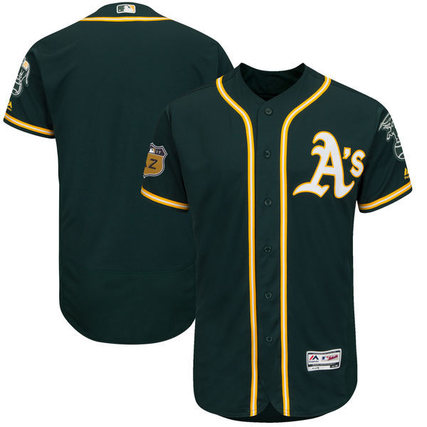 Men's Oakland Athletics Majestic Green 2017 Spring Training Authentic Flex Base Team Stitched MLB Jersey