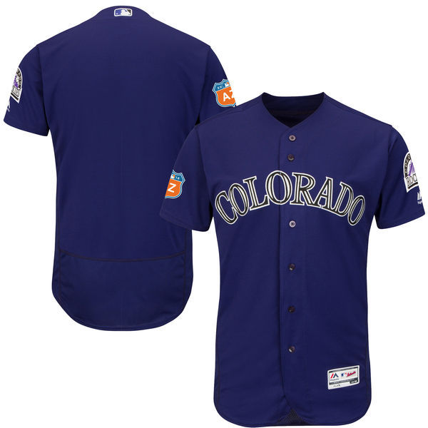 Men's Colorado Rockies Majestic Alternate Purple 2016 Spring Training Flex Base Authentic Collection Team Stitched MLB Jersey