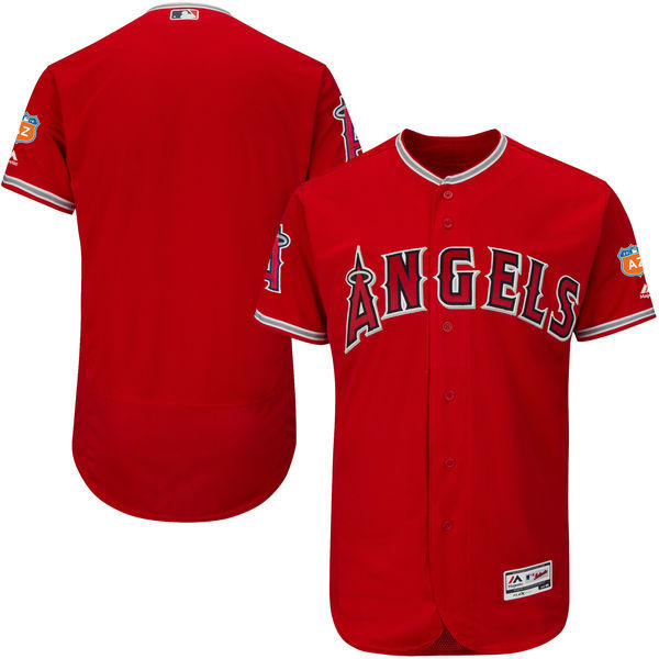 Men's Los Angeles Angels of Anaheim Majestic Alternate Scarlet 2016 Spring Training Flex Base Authentic Collection Team Stitched MLB Jersey