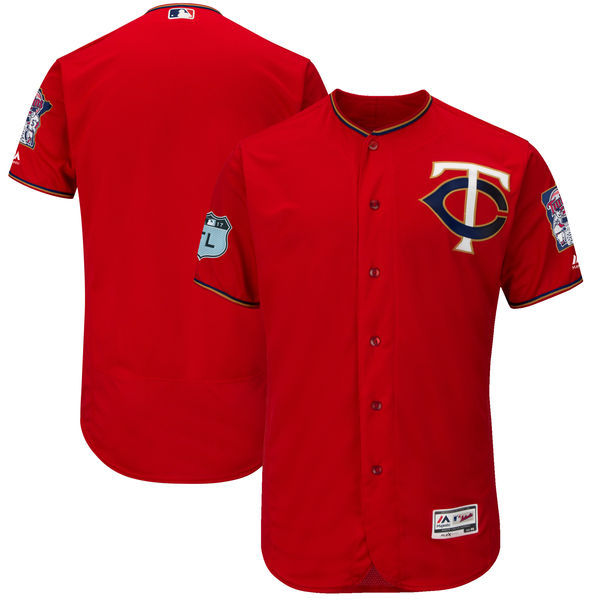 Men's Minnesota Twins Majestic Scarlet 2017 Spring Training Authentic Flex Base Team Stitched MLB Jersey
