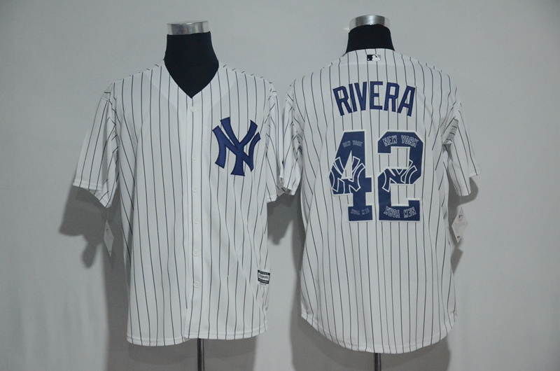 Men's New York Yankees #42 Mariano Rivera White Team Logo Print Cool Base Stitched MLB Jersey