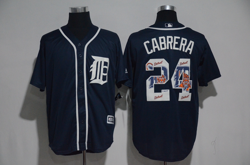 Men's Detroit Tigers #24 Miguel Cabrera Navy Team Logo Print Cool Base Stitched MLB Jersey