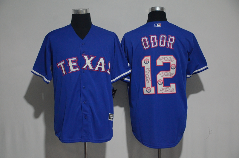 Men's Texas Rangers #12 Rougned Odor Blue Team Logo Print Cool Base Stitched MLB Jersey