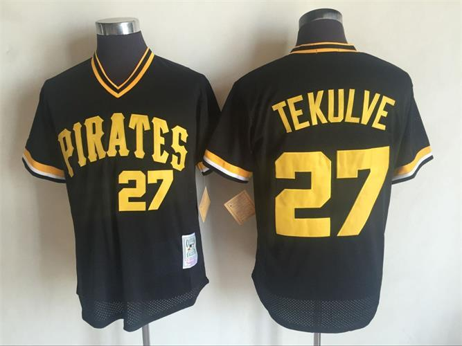 Men's Pittsburgh Pirates #27 Kent Tekulve Mitchell and Ness Black Throwback Stitched MLB Jerseys