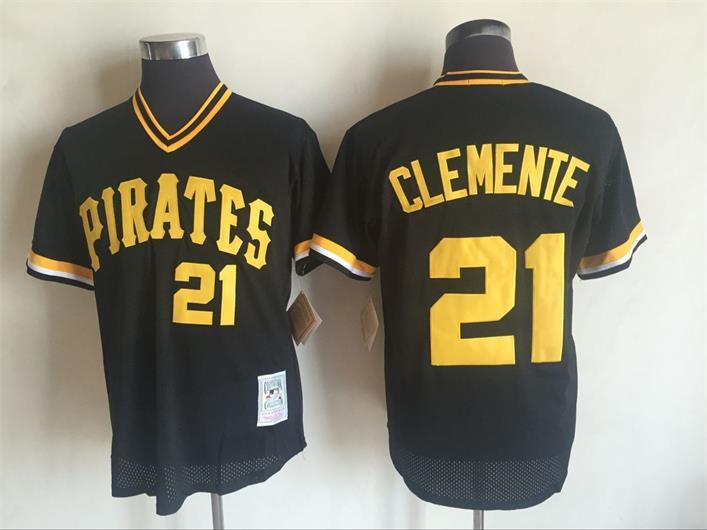 Men's Pittsburgh Pirates #21Roberto Clemente Mitchell and Ness Black Throwback Stitched MLB Jersey