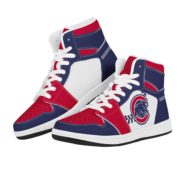Women's Chicago Cubs AJ High Top Leather Sneakers 002