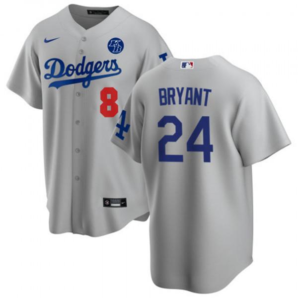 Men's Los Angeles Dodgers Front #8 Back #24 Kobe Bryant Grey 2020 ...