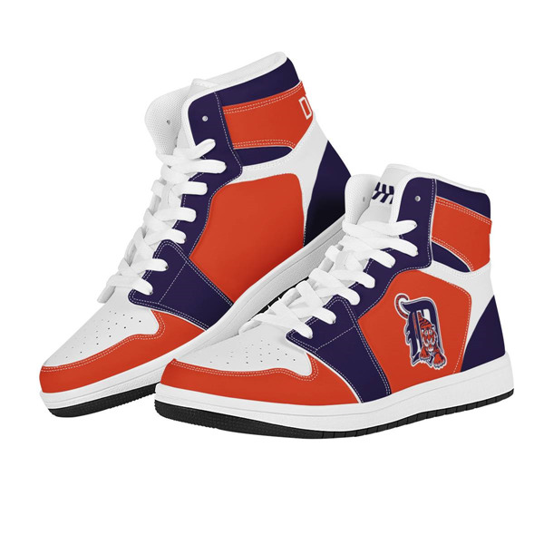 Women's Detroit Tigers AJ High Top Leather Sneakers 001