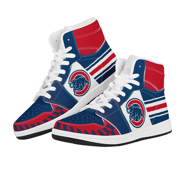 Women's Chicago Cubs AJ High Top Leather Sneakers 001
