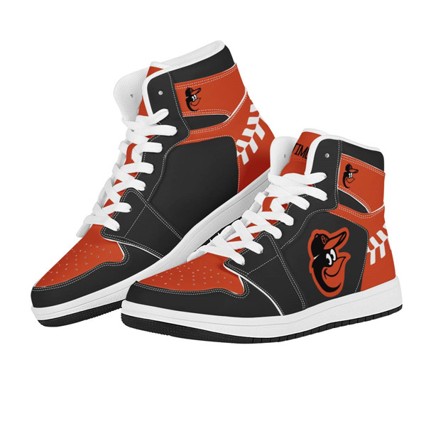 Women's Baltimore Orioles AJ High Top Leather Sneakers 002