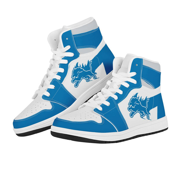 Women's Detroit Lions AJ High Top Leather Sneakers 002