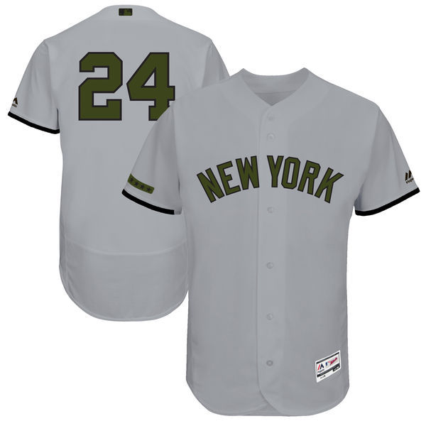 Men's New York Yankees #24 Gary Sanchez Majestic Gray 2017 Memorial Day Authentic Collection Flex Base Player Stitched MLB Jersey