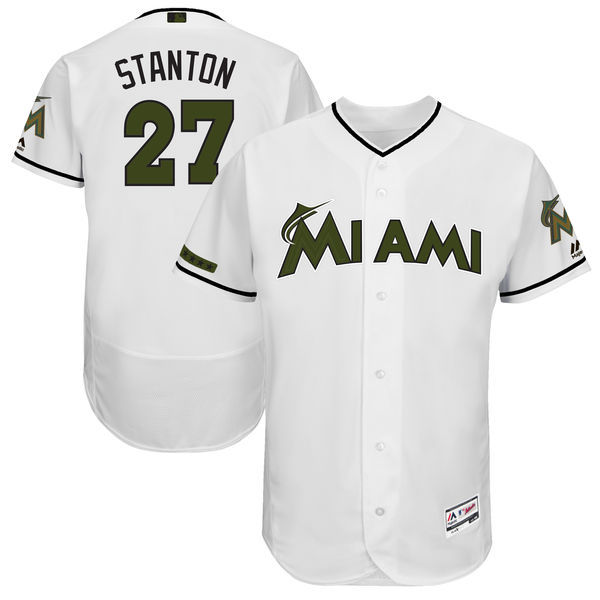 Men's Miami Marlins #27 Giancarlo Stanton Majestic White 2017 Memorial Day Authentic Collection Flex Base Player Stitched MLB Jersey