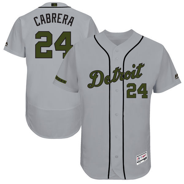 Men's Detroit Tigers #27 Miguel Cabrera Majestic Gray 2017 Memorial Day Authentic Collection Flex Base Player Stitched MLB Jersey