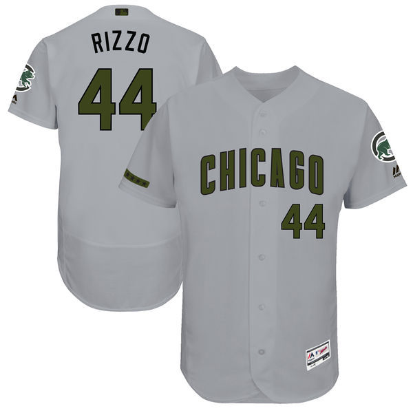 Men's Chicago Cubs #44 Anthony Rizzo Majestic Gray 2017 Memorial Day Authentic Collection Flex Base Player Stitched MLB Jersey
