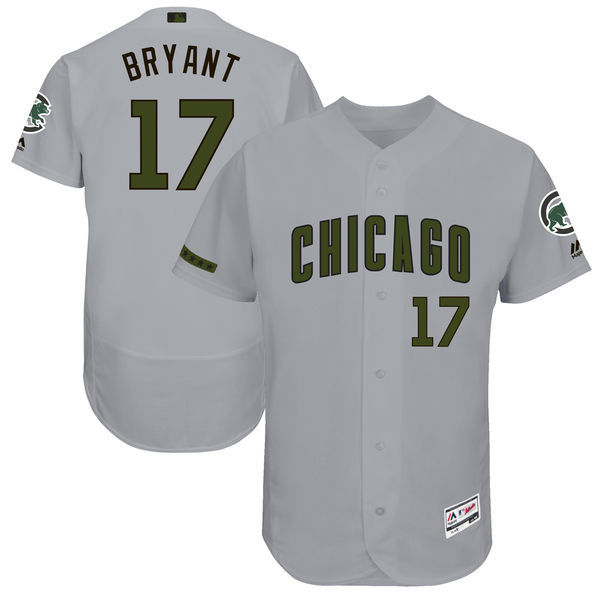 Men's Chicago Cubs #17 Kris Bryant Majestic Gray 2017 Memorial Day Authentic Collection Flex Base Player Stitched MLB Jersey