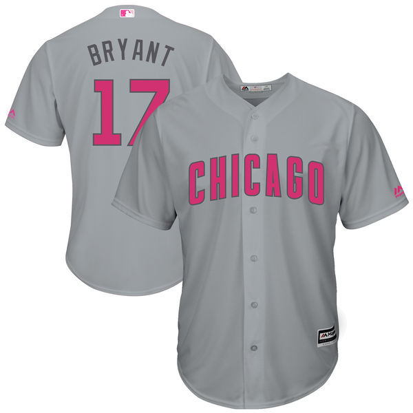 Men's Chicago Cubs #17 Kris Bryant Majestic Gray Mother's Day Cool Base Stitched MLB Jersey