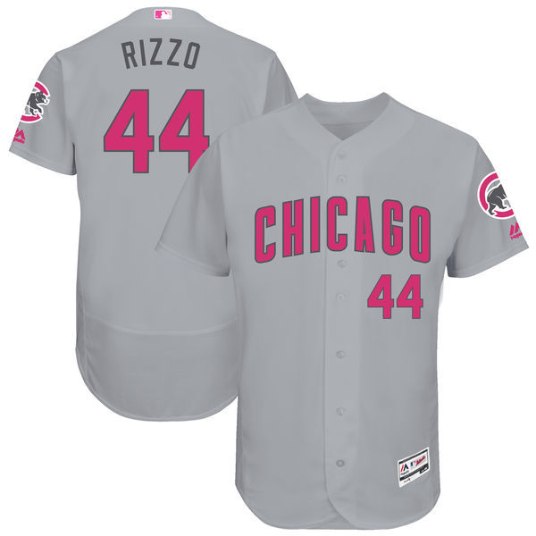 Men's Chicago Cubs #44 Anthony Rizzo Majestic Gray Mother's Day Flex Base Stitched MLB Jersey