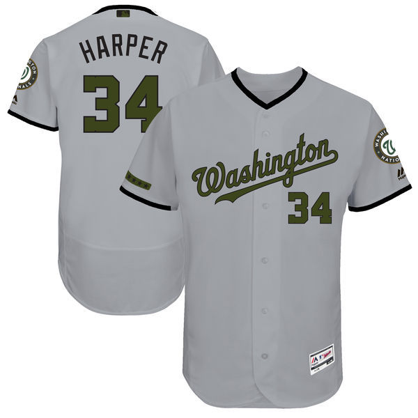 Men's Washington Nationals #34 Bryce Harper Majestic Gray 2017 Memorial Day Authentic Collection Flex Base Player Stitched MLB Jersey