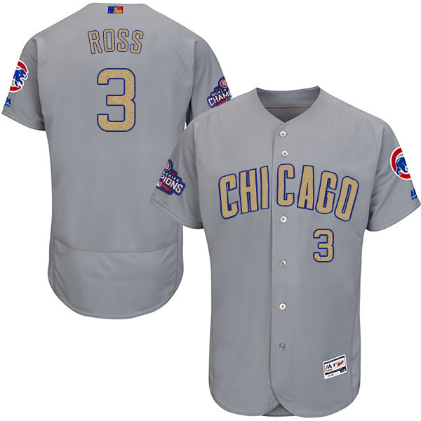 Men's Chicago Cubs #3 David Ross Gray World Series Champions Gold Program Flexbase Stitched MLB Jersey