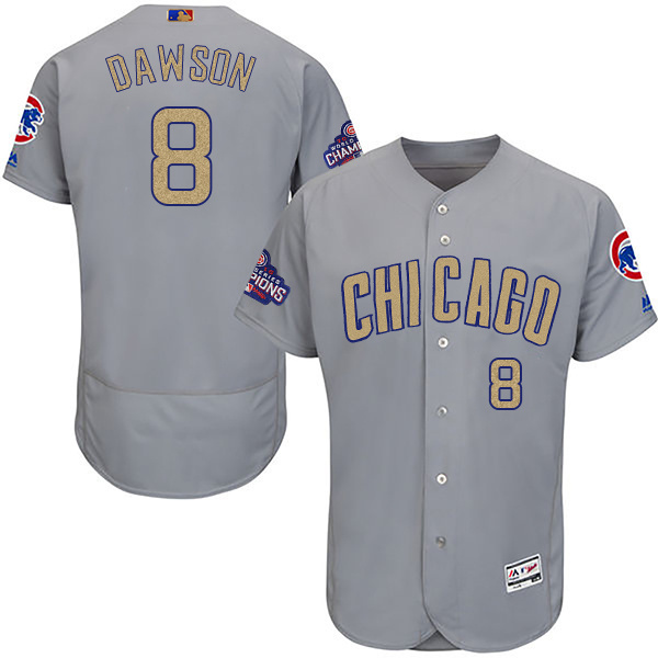 Men's Chicago Cubs #8 Andre Dawson World Series Champions Gold Program Flexbase Stitched MLB Jersey
