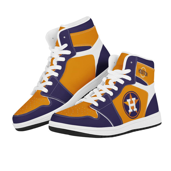 Women's Houston Astros AJ High Top Leather Sneakers 002
