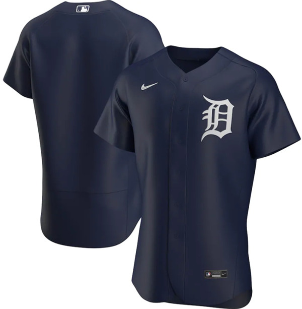 Men's Detroit Tigers Blank Navy Flex Base Stitched MLB Jersey
