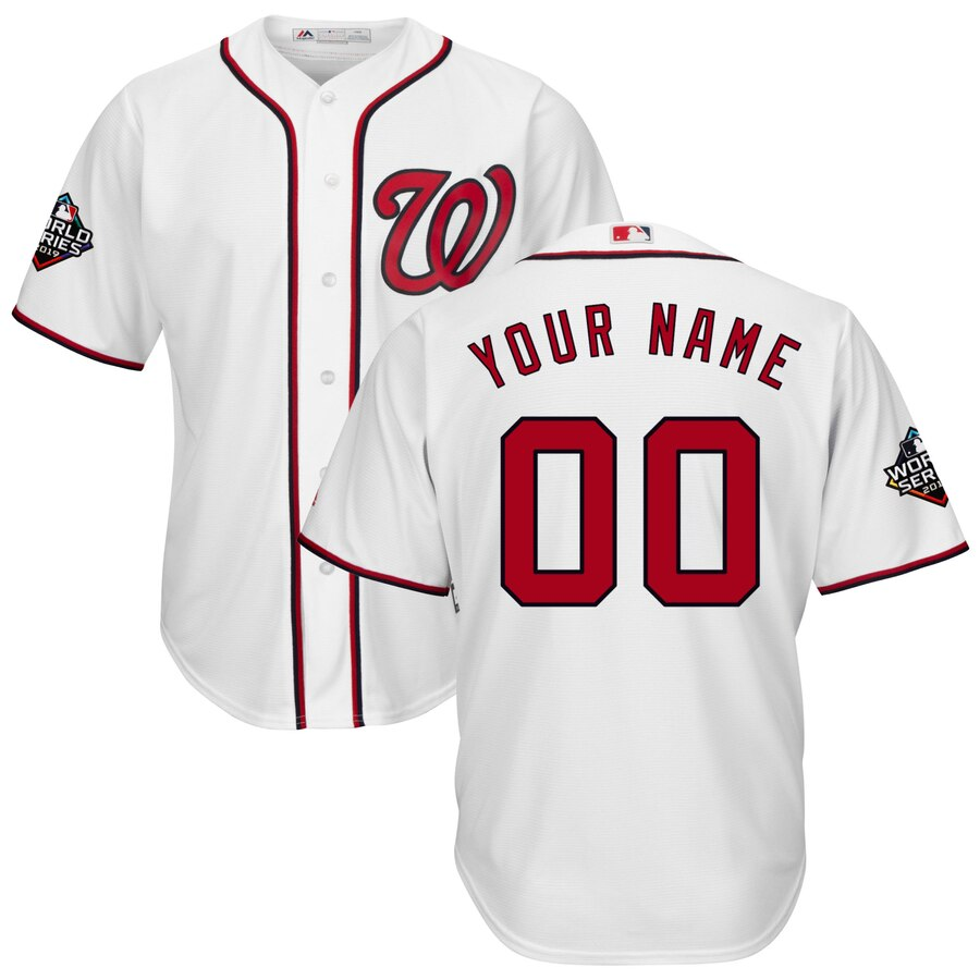 Men's Washington Nationals ACTIVE PLAYER Majestic White 2019 World Series Bound Official Cool Base Custom Stitched Jersey