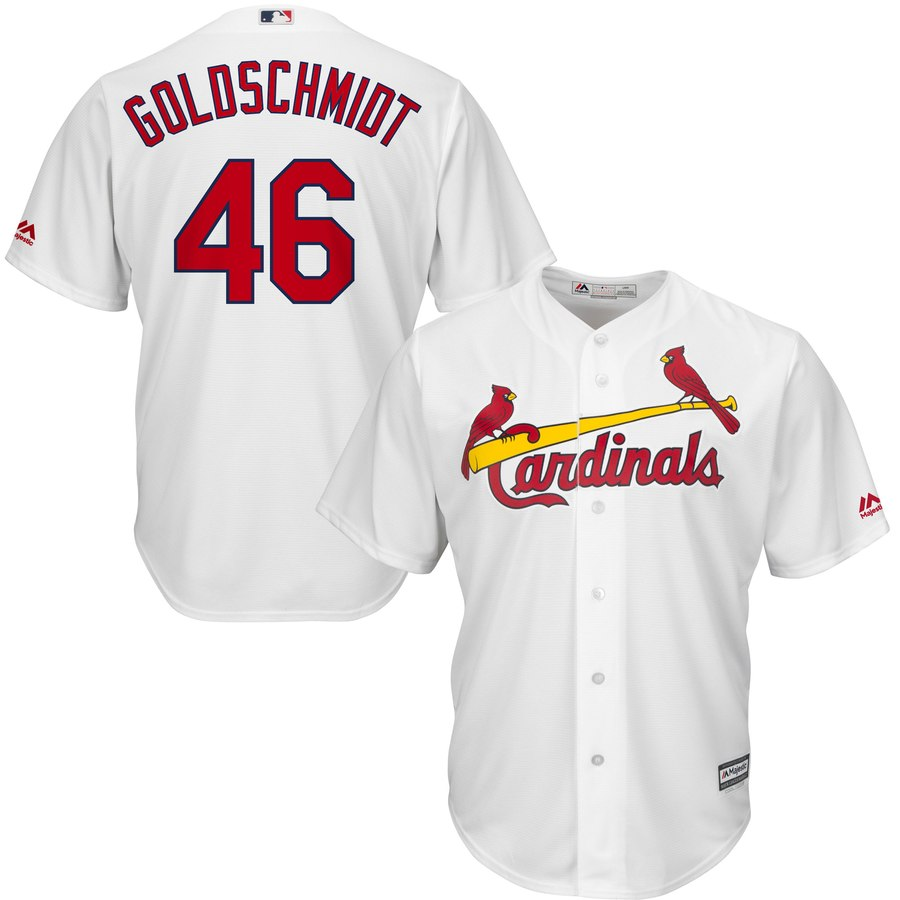 Men's St. Louis Cardinals #46 Paul Goldschmidt Majestic White Cool Base Stitched MLB Jersey
